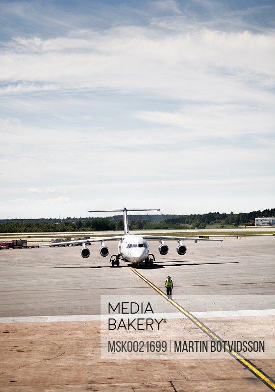 Aeroplane on a airport runway
