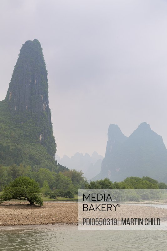 The dramatic Li river with karst limestone hills